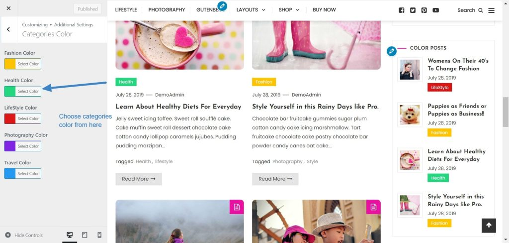 color blog categories color