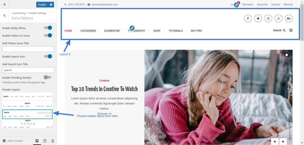 Header site layout